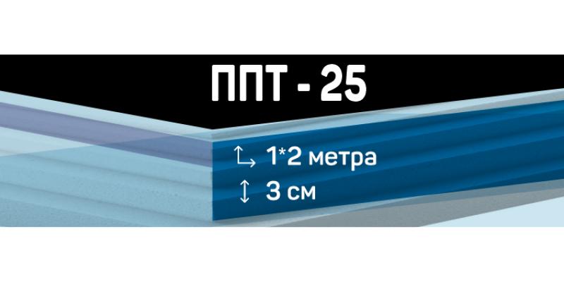 Пенопласт ППТ-25 размером 1*2 м толщиной 3 см